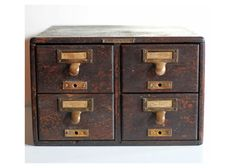 Vintage Wooden Library Card Catalog  Four Drawer by TheArbitrarium, $175.00