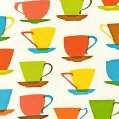 A funky style design of teacups from the 'Metro Cafe' collection by Louise Cunningham. Textiles, Textile Patterns, Textile Design, Fabric Design, Print Patterns, Surface Pattern, Pattern Art, Pattern Design, Vintage Fabrics