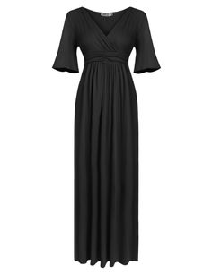 Black Women's V-Neck Cold Shoulder Flare Sleeve Solid Pleated Evening Party Long Maxi Casual Dresses