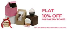 Order now and get flat 10% discount on your custom bakery boxes. book your order at 888-851-0765 or get a free custom quote. Bakery Packaging, Custom Packaging, Box Packaging, Custom Boxes, Buying Wholesale, Custom Design, Quote, Make It Yourself, Flat