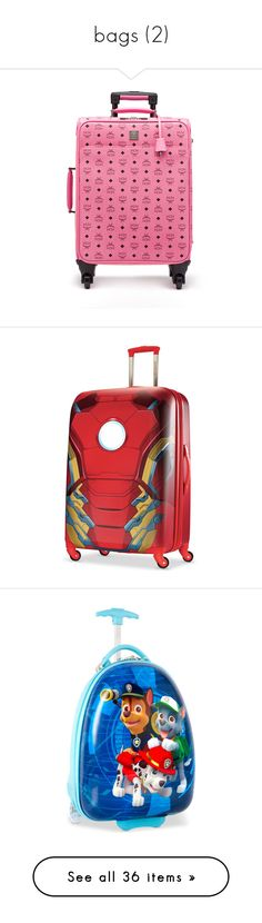 """""""bags (2)"""" by kayy-mami ❤ liked on Polyvore featuring bags, luggage, mcm, marvel spider man print, print, purple, suitcases, louis vuitton, purses and accessories"""