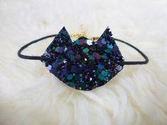 Bracelet Chat à paillettes Paulinka - modèle noir à reflets pétrole : Bracelet par paulinka-creations