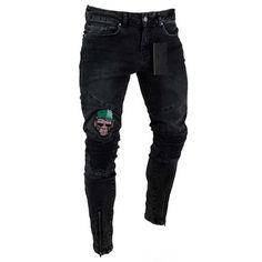 high quality new men street hip-hop elastic Skinny jeans wrinkle in knee biker pants thigh ankle zipper male broken Hole design(China) Ripped Jeans Men, Biker Jeans, Jeans Denim, Boys Jeans, Black Jeans Men, Motorcycle Pants, Swag Style, Style Casual, Jeans Material