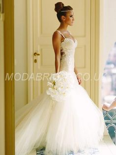 modabridal.co.uk SUPPLIES Fashionable Court Natural Trumpet/Mermaid Spring Floor-Length All Sizes Sweetheart Tulle Wedding Dress Simple Wedding Dresses