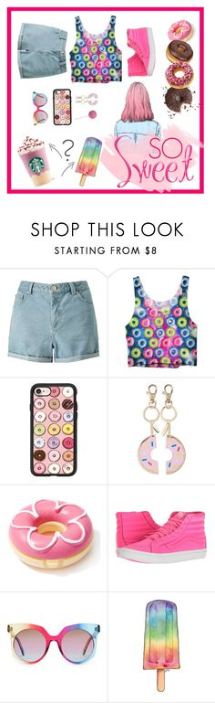 """""""so sweet"""" by bleshka ❤ liked on Polyvore featuring Miss Selfridge, Casetify, Topshop, Glamour Dolls, Vans, MCM, sweets, Pink, summerstyle and doughnuts"""