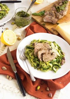 Pistachio Pesto Zucchini Noodles With Roasted Pork Tenderloin - A healthy, low carb and gluten free meal that feels fancy, but is SO easy! | Foodfaithfitness.com | @FoodFaithFit