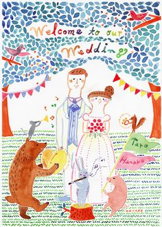 A4サイズのウェルカムボード【オーダー】 Wedding Illustration, Couple Illustration, Character Illustration, Illustration Art, Wedding Invitation Cards, Wedding Cards, Invites, Alternative Wedding, Wedding Paper