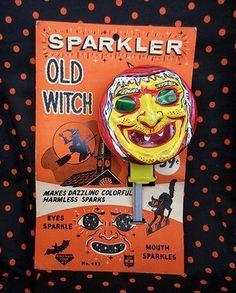 VINTAGE HALLOWEEN WITCH SPARKLER NOISEMAKER MINT ON CARD | #473005639