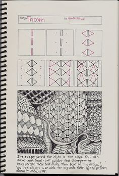 Tricorn-tangle pattern by molossus, who says Life Imitates Doodles, via Flickr