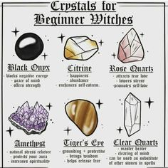 modern witch Beginners Crystals For Everyday People! These are great crystals to get if you are just starting out! Click the link in my bio to order Wiccan Spell Book, Wiccan Witch, Witch Spell, Green Witchcraft, Magick Spells, Wicca Witchcraft, Crystal Magic, Crystal Healing Stones, Tarot