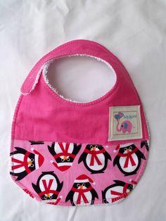 Baby Bib Christmas bib funky penguin pastel pink by KidsAspire, $8.50