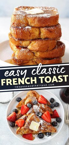 The best French Toast Recipe to make for Christmas or Thanksgiving morning! It is a light and fluffy recipe best served with butter, maple syrup, and powdered sugar. Save this easy holiday recipe! Awesome French Toast Recipe, Best French Toast, Easy Holiday Recipes, Pj Party, Delicious Breakfast Recipes, Powdered Sugar, Maple Syrup, Breakfast Ideas, Food To Make