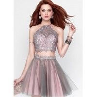 Unique Lace & Tulle Halter Neckline A-Line Two-piece Dress With Beads