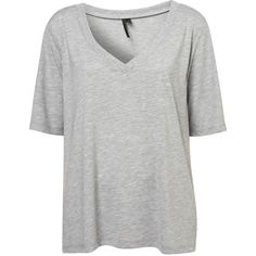 Washed V Tee By Boutique (155 BRL) ❤ liked on Polyvore featuring tops, t-shirts, shirts, tees, topshop, grey, gray tees, t shirt, grey tee and jersey tee