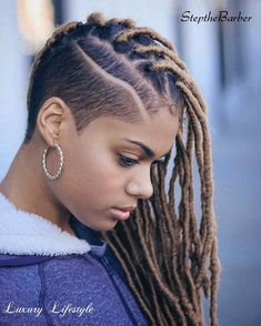 40 Fabulous Funky Ways to Pull Off Faux Locs Dreadlock Braids with Side Undercut New Natural Hairstyles, Black Women Hairstyles, Natural Hair Styles, Short Hair Styles, Shaved Side Hairstyles, Dreadlock Hairstyles, Braided Hairstyles, Braided Mohawk, Dreadlock Styles