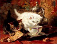 Teatime for the kittens | Henriette Ronner-Knip
