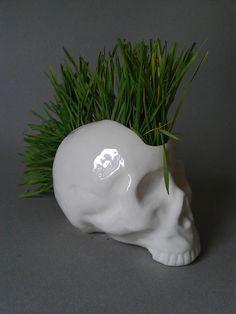 Pot de fleur céramique crâne punk par ALittleMarket.com