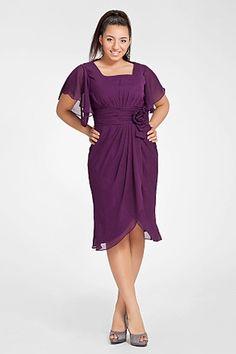 Sheath Square Knee-length Short Sleeves Chiffon Mother of Bride Dress