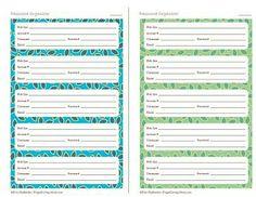username and password organizer template