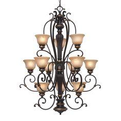 Golden Lighting Jefferson 3 Tier Chandelier - Etruscan Bronze Finish - 6029-363 EB