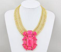 Neon Necklace, Neon Statement Necklace, Pink Necklace,Pendant Necklace,Gold Chain Necklace for Women/Girls