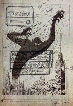 Couverture non retenue de La Marque Jaune de Jacobs dans Tintin.Inedit