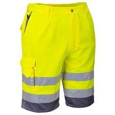 Hi Viz / Hi Visibility Yellow / Grey Polycotton Shorts