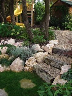 50 The Best Rock Garden Landscaping Ideas To Make A Beautiful Front Yard Sloped garden Hillside Landscaping, Landscaping With Rocks, Front Yard Landscaping, Landscaping Ideas, Landscaping Software, Rustic Landscaping, Backyard Ideas, Large Backyard, Railroad Ties Landscaping