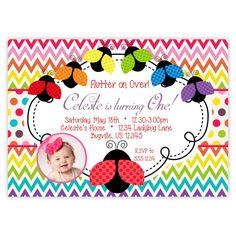 Ladybug Invitation - Rainbow Chevron, Red, Orange, Yellow, Green Blue Ladybugs Personalized Birthday Party Invite - a Digital Printable File