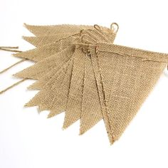 3m Vintage Jute Hessian Burlap Bunting Banner Wedding Party Photography Props Decoration 13 Flags - Wedding Look