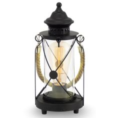 Vintage Collection CARGO rustic lantern table lamp in black with rope design