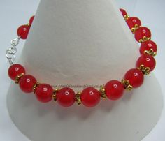 Red Quartzite & Gold Coloured  Flower Spacers £14.20 plus p&p