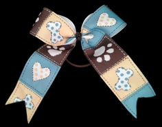 "AUCTION to Benefit JCAPL, Animal Rescue!  Puppy Love, girls hair bow 5""W x 6""L - Beth Hutchinson, artisan  Link to view all auction items and place a bid: https://www.facebook.com/media/set/?set=a.10152703514929549.1073741859.74160789548&type=1"