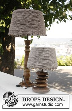 "Crochet DROPS lamp shade covers in ""Nepal"". ~ DROPS Design, thanks so for sharing xox"