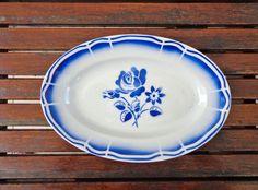 Badonviller, Fleur Bleue, Kleine ovale schaal, wit met blauwe bloemen, 1930, Frans porselein door Albaterra op Etsy