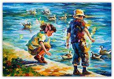 """Niñez - 2017 de Leonid Afremov - """"Childhood"""".    Es portada de la Oración para Bendecir a mis Hijos."""