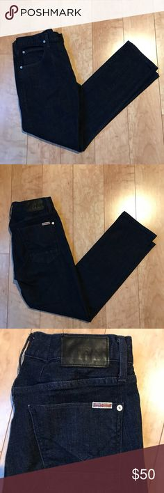 HUDSON JEANS (31 x 30) Like new! No flaws! Let's make a deal!  The Blake Slim Straight Jeans in Hallows feature a zip fly on comfort stretch denim with a traditional deep blue wash. These jeans feature light handsanding throughout that give it a modern touch, and are sure to become your go-to pair of slim straight jeans. Hudson Jeans Jeans Slim Straight