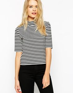 ASOS High Neck Stripe Top