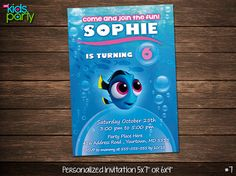 Finding Dory Print Yourself Invitation 5x7 or 4x6 by diykidsparty