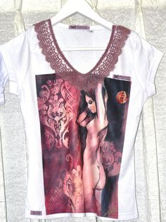 Watercolour Tshirt of a FemmeFatale with cute by ACQUARELLIfashion, €55.00