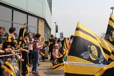 A crowd gathers at the Ricoh Arena, Coventry on the 7th of May 2016 to welcome London Wasps and London Irish to the Aviva Premiership round 22.