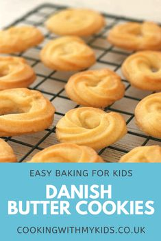 Danish butter cookies are a delicious melt in the mouth cookie. They're the sort of biscuit you get in tins at Christmas but are perfect for anytime of year Cookie Recipes For Kids, Fun Baking Recipes, Sweet Recipes, Easy Recipes, Cookies For Kids, Crinkle Cookies, Danish Butter Cookies, Biscuit Cookies, Candy