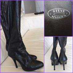 SALE!!! Steve Madden Zestie Black Boots!! Steve Madden Zestie Black Boots!! Size 6 1/2. Worn but still look great! See pictures for detailed pics of wear and tear. One of my favorite looks with leggins and skinny jeans. Not real leather. Steve Madden Shoes