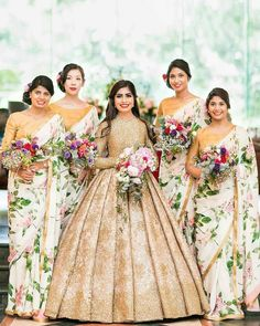 If you are the bride-to-be and looking for some amazing and epic bride entry ideas for your big day, you have hit the right space! From simple and sophisticated bride entry ideas to a cool dhamakedar entry - here's some of our handpicked fav's. Bridesmaid Poses, Bridesmaid Saree, Indian Bridesmaids, Brides And Bridesmaids, Bride Entry, Gold Gown, Sophisticated Bride, Maid Dress, Wedding Lingerie
