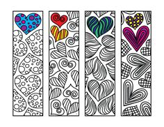 Heart Bookmarks – PDF Zentangle Coloring Page – Scribble & Stitch Diy Marque Page, Fairy House Crafts, Heart Bookmark, Diy Bookmarks, Monogram Alphabet, Zentangle Patterns, Printable Coloring Pages, Coloring Sheets, Adult Coloring