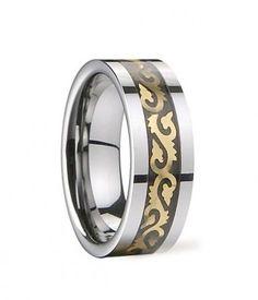 Gold Jixiangornis Pattern Stainless Steel Inlaid Tungsten Wedding Band