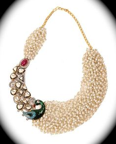 A very conventional Kundan Meena & Pearl by SynasCollection, $285.00