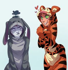 Can we just take a moment to appreciate this picture? Raven and Starfire... Dressed up as eeyore and tigger.