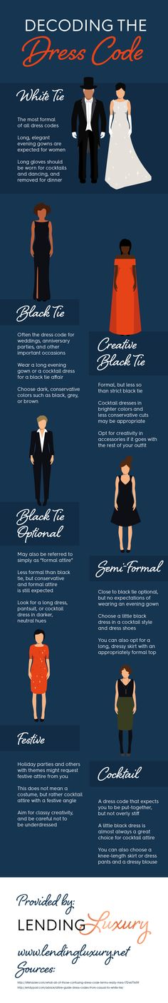 While black tie events call for long evening gowns and darker colors, creative black tie events leave room for brighter colors! Learn all about dress codes by looking at this infographic.