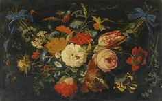 Abraham Mignon   A HANGING GARLAND OF FLOWERS AND FRUIT, INCLUDING ROSES, TULIPS AND RASPBERRIES, ALONG WITH A VARIETY OF INSECTS, 17th C.